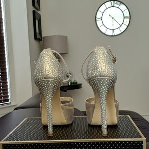 """5.5"""" Heel Gold and Rhinestone Studded Shoes."""
